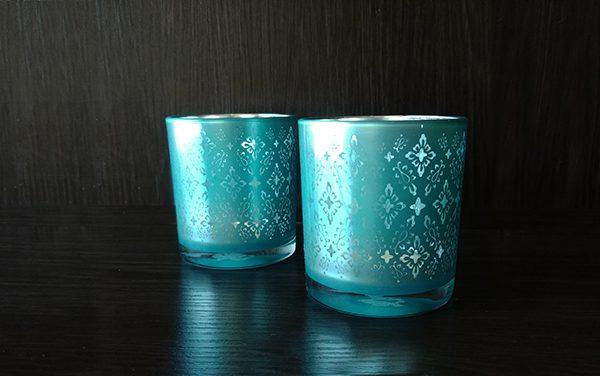 Glass – Votive Blue Pattern
