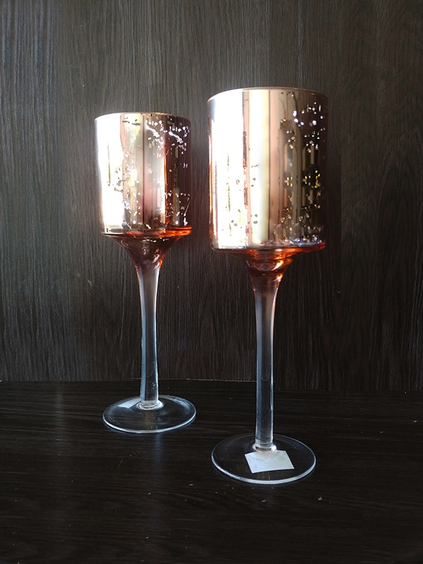 Rose Gold – Long Glass Goblet Modern Small