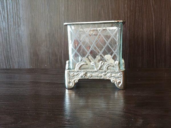Silver – Decorative Vase Square With Glass Small