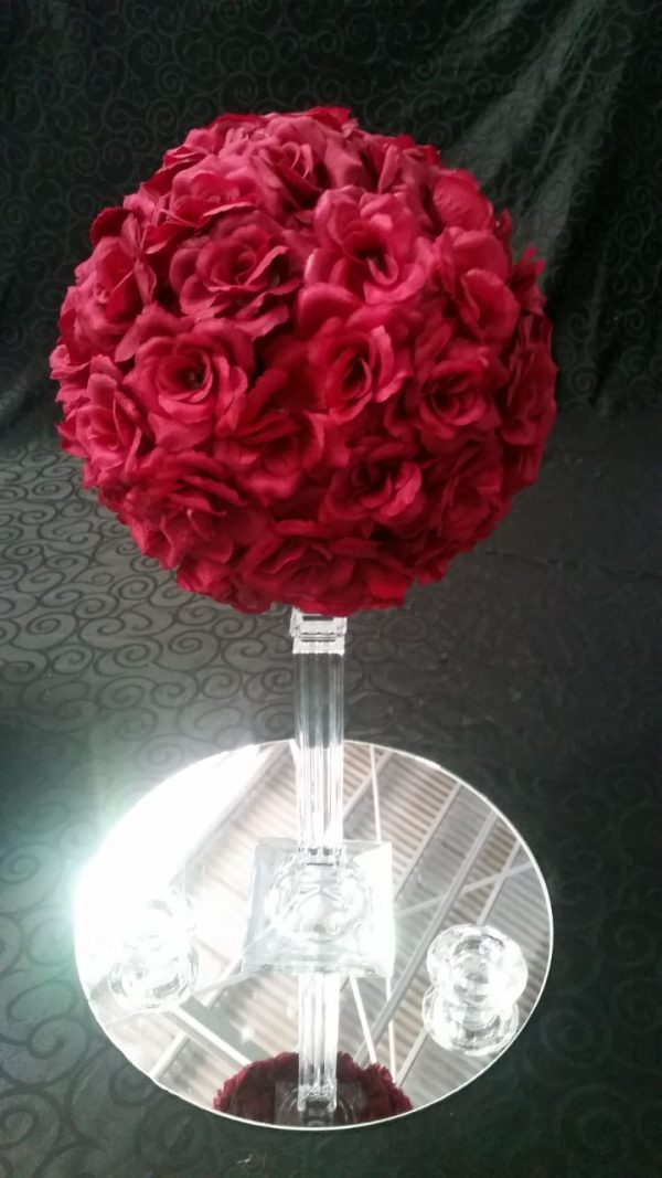 Rose flower balls burgundy