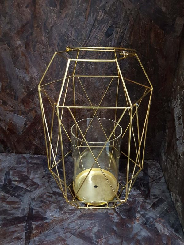 GOLD GEOMETRIC CANDLE HOLDER 30CM G706